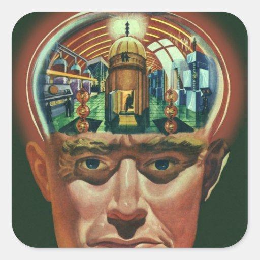 Vintage Science Fiction Alien Brain Exposing a Lab Sticker