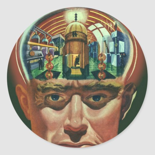 Vintage Science Fiction Alien Brain Exposing a Lab Round Stickers