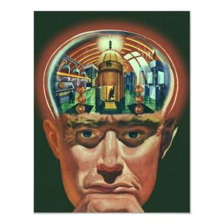 Vintage Science Fiction, Alien Brain in Laboratory 11 Cm X 14 Cm Invitation Card