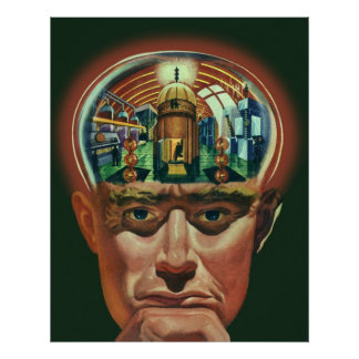 Vintage Science Fiction, Alien Brain in Laboratory Poster