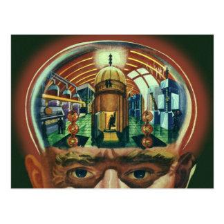 Vintage Science Fiction, Alien Brain w Laboratory Postcard