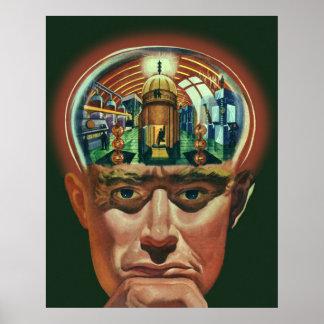 Vintage Science Fiction, Alien Brain w Laboratory Print