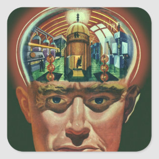 Vintage Science Fiction, Alien Brain w Laboratory Square Stickers