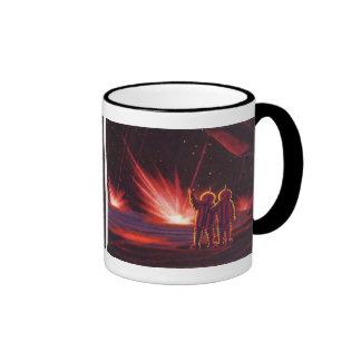 Vintage Science Fiction Alien Red Planet Explosion Ringer Mug