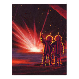 Vintage Science Fiction Alien Red Planet Explosion Postcard
