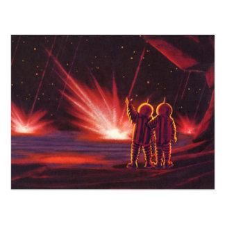 Vintage Science Fiction Alien Red Planet Explosion Postcards