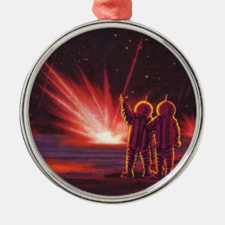Vintage Science Fiction Alien Red Planet Explosion Silver-Colored Round Decoration