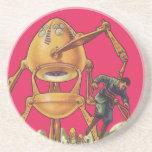 Vintage Science Fiction Alien Robot Captures Man Sandstone Coaster