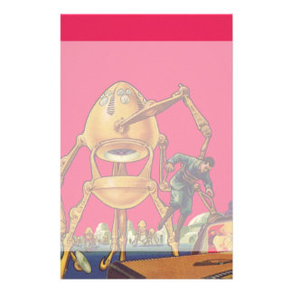 Vintage Science Fiction Alien Robot Captures Man Stationery