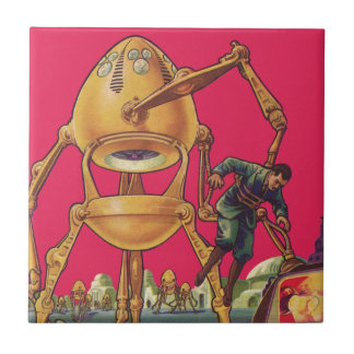 Vintage Science Fiction Alien Robot Captures Man Tile