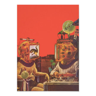 Vintage Science Fiction, Alien Steam Punk Helmets Card