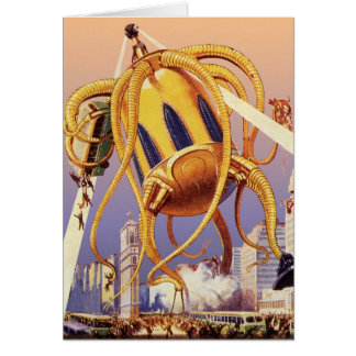 Vintage Science Fiction Alien War Invasion Octopus Card
