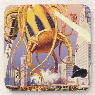 Vintage Science Fiction Alien War Invasion Octopus Coaster