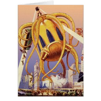 Vintage Science Fiction Alien War Invasion Octopus Greeting Card