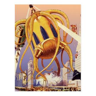 Vintage Science Fiction Alien War Invasion Octopus Postcard