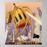 Vintage Science Fiction Alien War Invasion Octopus Poster