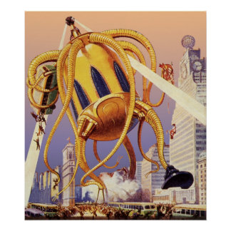 Vintage Science Fiction Alien War Invasion Octopus Poster
