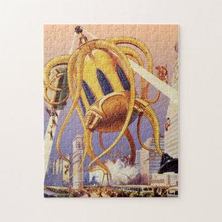 Vintage Science Fiction Alien War Invasion Octopus Puzzles