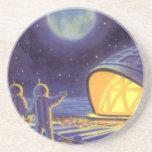 Vintage Science Fiction Aliens Blue Planet Moon Coaster