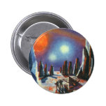 Vintage Science Fiction Aliens on a Foreign Planet Pinback Button