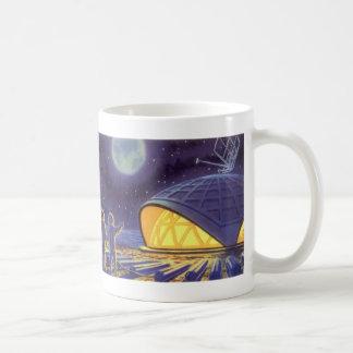 Vintage Science Fiction Aliens on Blue Planet Moon Basic White Mug