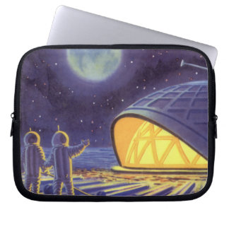 Vintage Science Fiction Aliens on Blue Planet Moon Laptop Sleeve