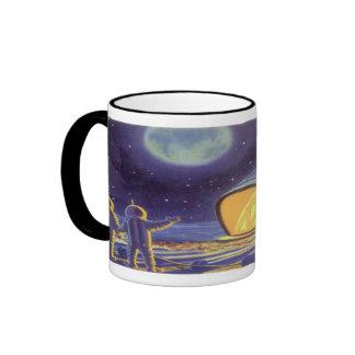 Vintage Science Fiction Aliens on Blue Planet Moon Ringer Mug