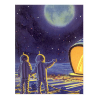 Vintage Science Fiction Aliens on Blue Planet Moon Postcard