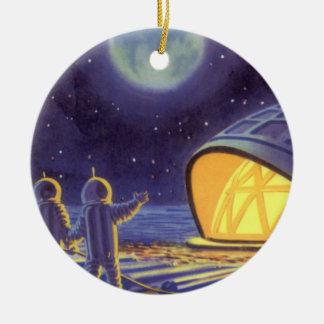 Vintage Science Fiction Aliens on Blue Planet Moon Round Ceramic Decoration