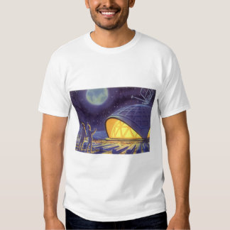 Vintage Science Fiction Aliens on Blue Planet Moon T-shirt