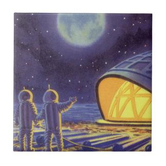 Vintage Science Fiction Aliens on Blue Planet Moon Tile