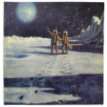 Vintage Science Fiction Aliens on the Moon Cloth Napkins