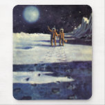 Vintage Science Fiction Aliens on the Moon Mousepad