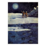 Vintage Science Fiction Aliens on the Moon Print