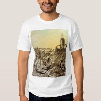 Vintage Science Fiction Aliens Planet Construction Tee Shirts
