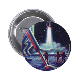 Vintage Science Fiction Aliens Wave to Rocket 6 Cm Round Badge