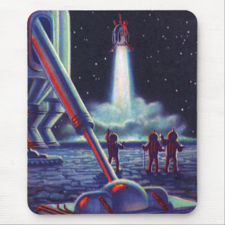 Vintage Science Fiction Aliens Wave to Rocket Mouse Mat