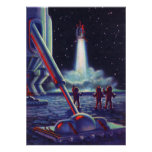 Vintage Science Fiction Aliens Wave to Rocket Posters