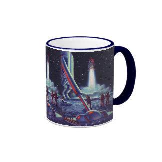 Vintage Science Fiction Aliens Wave to Rocket Ringer Mug