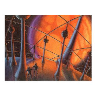 Vintage Science Fiction Aliens with a Orange Sun Postcards