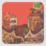 Vintage Science Fiction Aliens With Video Helmets Square Sticker