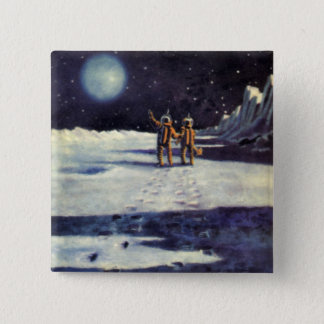 Vintage Science Fiction Astronaut Aliens on Moon 15 Cm Square Badge