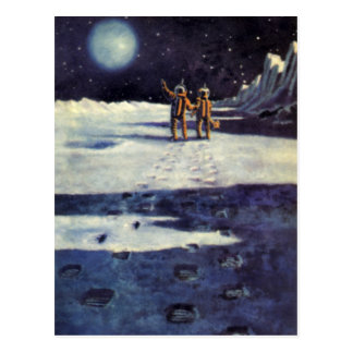 Vintage Science Fiction Astronaut Aliens on Moon Postcard