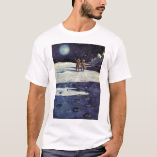 Vintage Science Fiction Astronaut Aliens on Moon T-Shirt