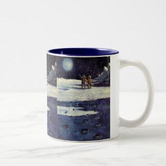 Vintage Science Fiction Astronaut Aliens on Moon Two-Tone Mug