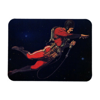 Vintage Science Fiction Astronaut in Outer Space Rectangular Magnets