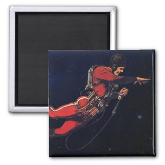 Vintage Science Fiction Astronaut in Outer Space Square Magnet