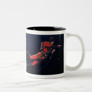 Vintage Science Fiction Astronaut in Outer Space Two-Tone Mug