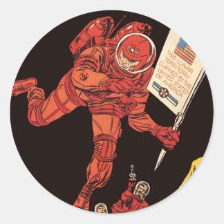Vintage Science Fiction, Astronaut Moon Landing Classic Round Sticker