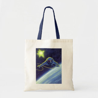 Vintage Science Fiction Astronaut on a Space Walk Budget Tote Bag